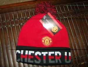 Licensed Manchester United Pom Beanie tri color wording