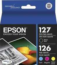 4-PACK Epson GENUINE 127 Black & 126 Color Ink WORKFORCE 840 845 635 645
