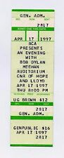 Bob Dylan Ticket 1997 Apr 17 Meehan Auditorium Providence Rhode Island Unused
