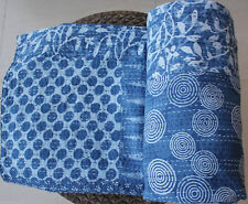Indian Ikat Kantha Quilt Twin Size Bedspread Throw Cotton Indigo Blue Blanket