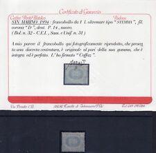 1894- San Marino Stemma 1 £ Oltremare MNH** S.31 Cert. Ray. Oro,Caffaz