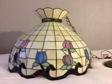"Large Antique Tiffany Style Stained Leaded Glass Hanging Lamp (21"" X 14.5"")"
