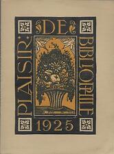 PLAISIR DE BIBLIOPHILE N°3 /1925 = Raoul DUFY + Libraires parisiens+ Paul VALERY