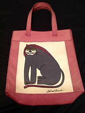 Vintage 80s Laurel Burch Tote Bag Shopper Cat WELL MADE OF HEAVY CANVAS --#K53