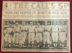 """BABE RUTH 1917 -""""Red Sox"""" Newspaper Photo (Scarce / Vintage)🔥Incredible Image🔥"""