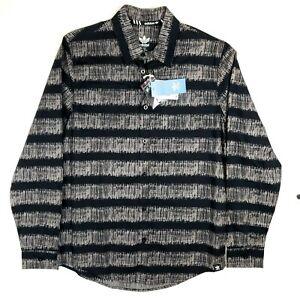 NWT Adidas Originals *RARE* STRIPES ON STRIPES Casual Button Down Shirt Gray M