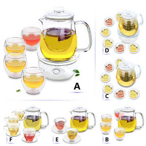 Elegant Heat Resistant Glass Flower Coffee Pot Teapot with Filter and Cups Set