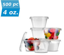 500pc 4 Ounce Clear Disposable Portion Cup With Lid BULK Restaurant Food Safety