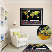 82x 59cm Travel Tracker Big Scratch Off World Map Poster Country Flags US States