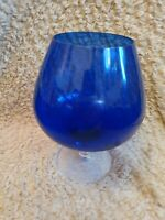 "Large 8"" tall  Italian Empoli Cobolt Blue Brandy Glass Vase 1960s Vintage"