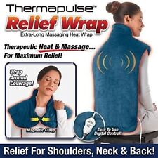 Thermapulse Relief Wrap Full Back Heating Pad Massaging Neck Shoulder Pain (BLUE