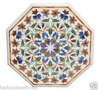 "24"" White Marble Side Corner Coffee Table Top Marquetry Mosaic Inlay Decor H1592"