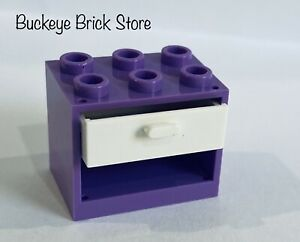 NEW Lego Medium LAVENDER CUPBOARD 2x3x2 Container With White Drawer