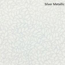Honeystone Hill Metallic leaves cotton quilt fabric by Blank  BTY Silver / White