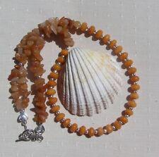 """Amber Jade & Peach Aventurine Gemstone Statement Necklace """"Amber Cascade"""""""