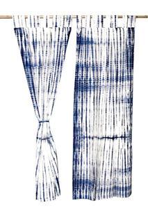 Indigo Tie & Dye Shibori Cotton Tab Top Window Handmade Door Curtains SET OF TWO