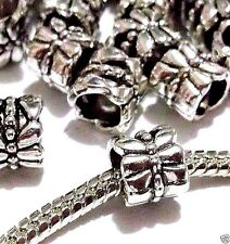 100 pc Lot EUROPEAN CHARM butterfly SPACER BEADS Antique Silver M109