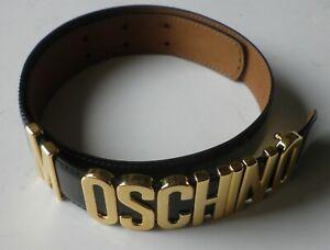 """MOSCHINO"" BLACK LEATHER BELT 'REDWALL 401020 T.G.42'"