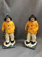 Set of Bookends Nautical Crusty Old Lobster Fishermen