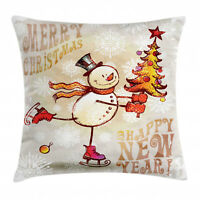 Christmas Throw Pillow Case Skating Happy Snowman Square Cushion Cover 16 Inches