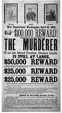 """John Wilkes Booth Wanted Poster Abraham Lincoln -17"""" x 22"""" Fine Art Print -00219"""