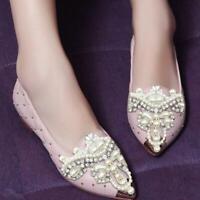 Clip de chaussures de fleur de perle strass chaussures amovibles pointu décor