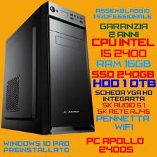 COMPUTER ASSEMBLATO PC FISSO DESKTOP INTEL Core i5-2400S RAM16GB SSD240GB HDD1TB