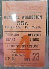 1941 Chicago Bears vs Detroit Lions Football Game Ticket Stub Nov 23