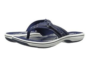 Women's Shoes Clarks BREEZE SEA Casual Flip Flop Sandals 25506 NAVY