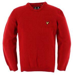 Lyle & Scott Herren Pullover Sweater Strick Gr.M 100% Lamm Wolle Rot 115710