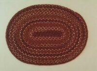 Dollhouse miniature vintage oval braided cranberry rug by Linda Raih, signed