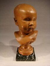 ANCIENNE SCULPTURE BUSTE D'ENFANT SIGNE ET DATE 1891 SOCLE MARBRE