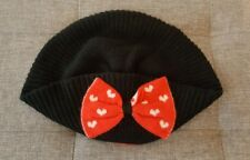 Alice Hannah Ladies Girls Black Jacquard Red Heart Bow Beret Hat