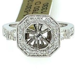 0.65 TCW Natural Diamond Halo Semi-Mount Setting Ring 14k Gold Size 6.75