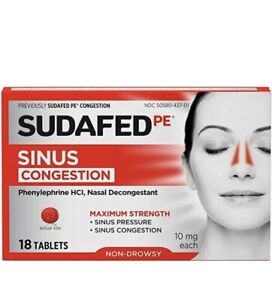 Sudafed PE   Non-Drowsy   Nasal Decongestant   18 count   Exp: 01/2021