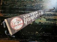 WWII Era New York Yankees Stitched Baseball Logo Felt Pennant Rare Blue Tassels