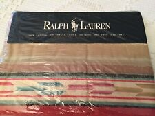 New Ralph Lauren Mesa Aqua Twin Flat Sheet NIP 100% Cotton South Western