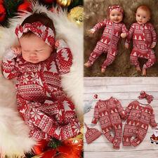 Infant Baby Kid Boys&Girls Long Sleeve Christmas Cartoon Romper Jumpsuit Clothes