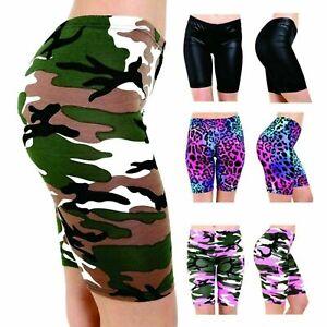 Women Printed Stretchy Gym Bike Cycling Tight Hot Pants Shorts Plus Size 8-24 UK
