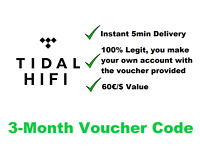 Tidal HIFI (Master) Premium 90 days | Voucher Code | Instant 5min Delivery