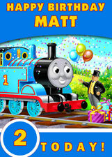Thomas The Tank Engine Blue Personalised Birthday Card Add your own name & age