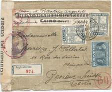 GRECE 8AX2+1AP LETTRE COVER REC ARGHOSTOLION 1940 TO SUISSE CENSURE ITALIA