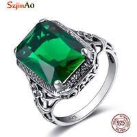 925 Sterling Silver Rings Victorian Style Filigree Ring Jewelry Emerald Green