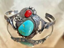 NATIVE AMERICAN ARTIST SIGNED 925 STERLING SILVER TURQUOISE & COLRAL BRACELET