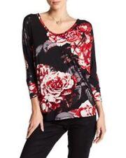 KAREN KANE Black Rose Print Dolman Sleeve Top Size Medium M NWT