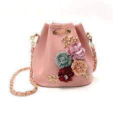 Women's Drawstring Shoulder Bucket Bag Tote Jelly Chain Beach Handbag Satchel UK