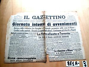 SECONDA GUERRA IL GAZZETTINO ANNO LVI N°218 11 SETT ALLEATI A TARANTO  (8E1A-3)