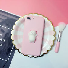 Squishy 3D Anti Stress Lazy Kitty Cat Soft Phone Case Cover For Samsung iPhone