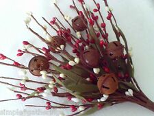 Pip Berry Pick  Stem with Rusty Jingle Bells  RED CREAM Berries Christmas