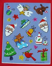 VINTAGE PAPER MAGIC CHRISTMAS HOLIDAY 9 STICKERS 1 SHEET SANTA ANGEL ANIMALS
